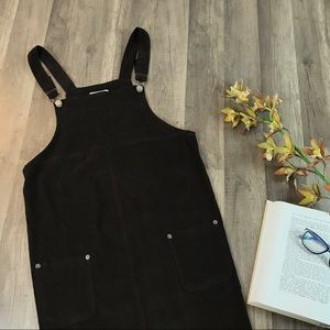90s Vtg Dark Brown Overall Midi Dress w/Pockets